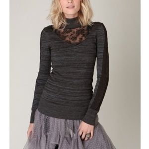 Free People Metallic Lace Panel Pullover Sweater